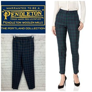 Pendleton Virgin Wool Plaid High-Rise Ankle Pants